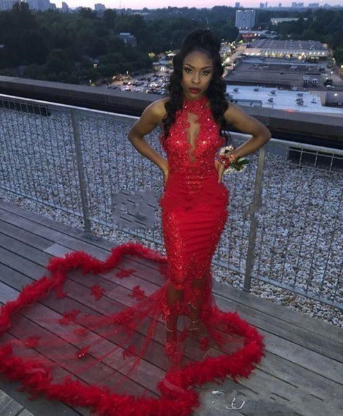Red African 2K19 Mermaid Prom Dresses Feather Sequined Sexy Mermaid Evening Dress Count Train See Through Backless Cocktail Party Gowns