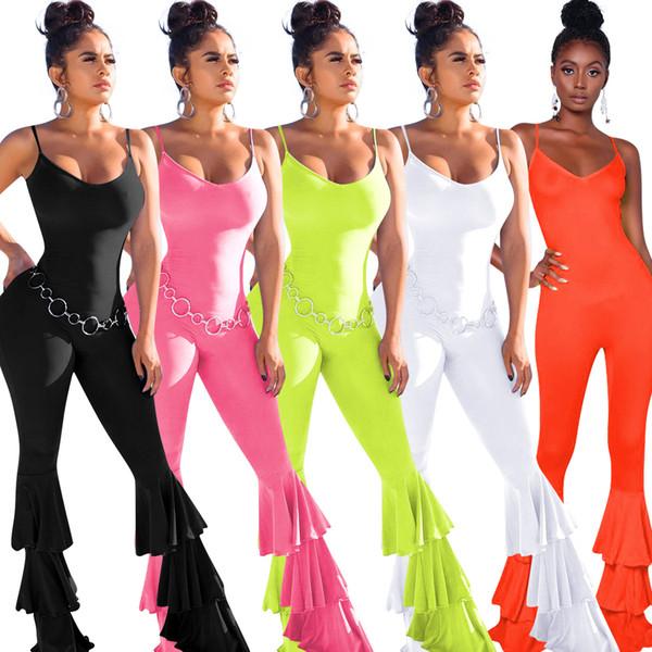 Femmes Combinaisons Bell Bottom Pants Leggings Salopette Pantalon évasé sans manches Collants Sexy Barboteuses Automne Casual Designer HOT Selling 1228
