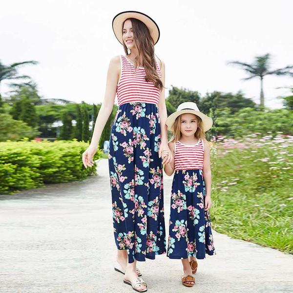 2019 Brand New Family Matching Sets Summer Mother Daughter Dress Sleeveless Striped Floral Patchwork High Waist Maxi Dress