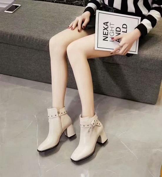 NEW World Tour Negro del cuero blanco de las botas del tobillo Superstar manera de calidad superior de cabeza cuadrada Denim Mujer botines Altura 7cm34-39