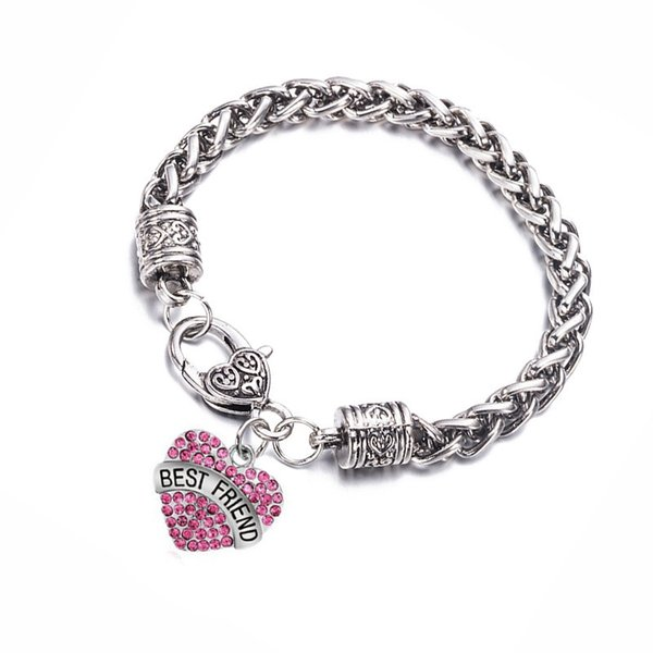 Heart Bracelet Trendy Metal Letter Braccialetti Best Friend Armband Damen Pink Blue Charm Bracelets for Women Femme Friendship