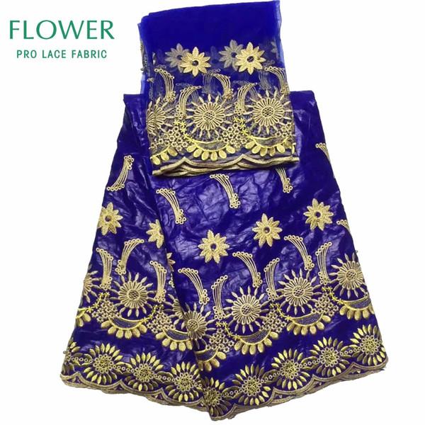 5 yardas + 2 yardas India Bazin Riche Getzner Lace Fabric 2017 con blusa Color azul con cuentas Gold Line Bordado Lace Basin Fabric