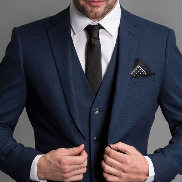 Formal Navy Blue Men Suits 2019 New Three Piece Notched Lapel Custom Made Business Groom Wedding Tuxedos (Jacket + Pants + Vest)