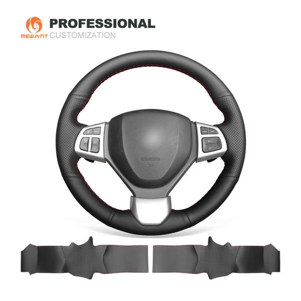 MEWANT Hand-Stitched Soft Stitching Black Genuine Leather Car Steering Wheel Cover for Suzuki Swift 2014-2016
