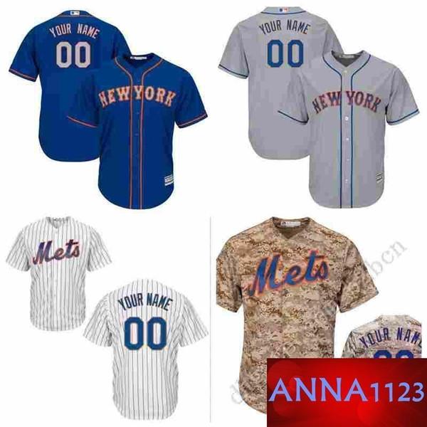 Nw Yk Mets Custom Herren Baseball Jersey Personalisierte jeden Namen und Nummer genäht