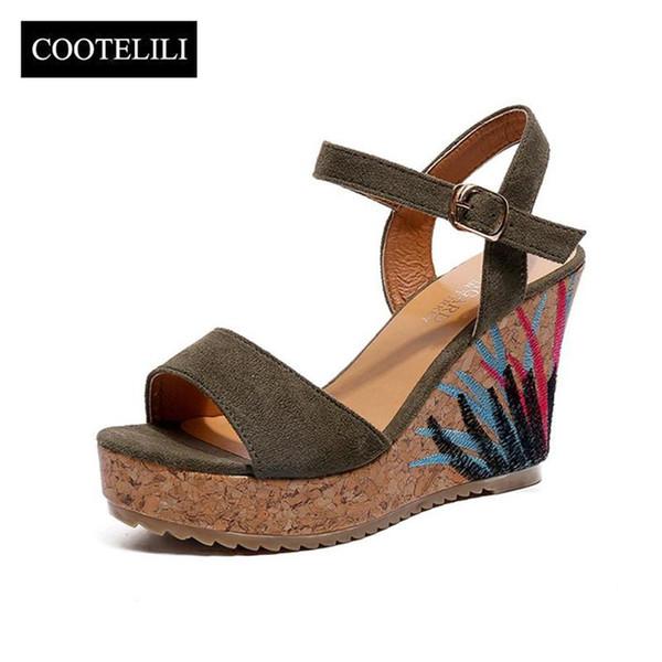 COOTELILI High Heels Women Summer Shoes Bohemian Women Sandals Summer Shoes Women Embroidery Beach Sandals 35-39