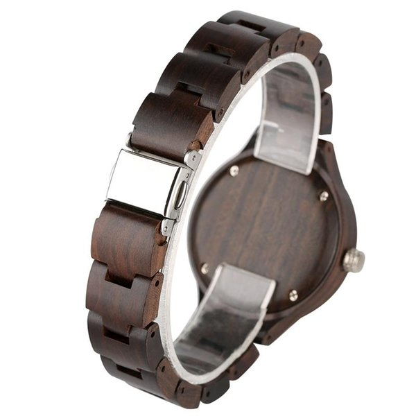 Casual All Black Wood Wrist Watches for Ladies,Natural Wooden Watches with Quartz Movement for Girls,Super Lightweight Ebony Wooden Watch