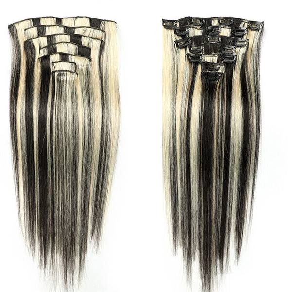 Clip in Remy human Hair Extensions 100% Real straight Hair Weft weaves 1B/613 8A clip in hair extensions