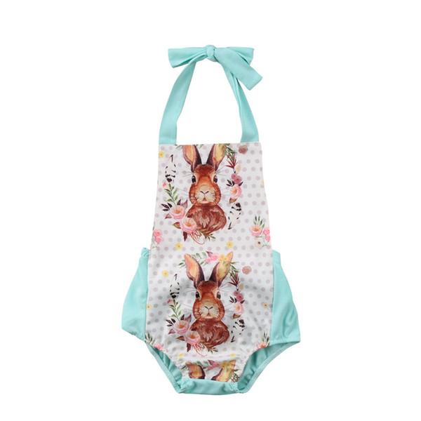 Páscoa recém-nascido roupas de bebê meninas sem mangas halter romper coelhos impressão macacão roupas bebê boutique clothing roupa dos miúdos infantis b11
