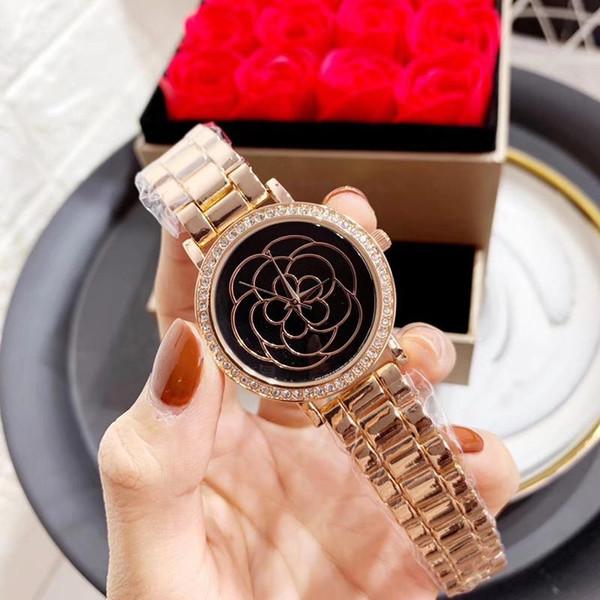Las nuevas señoras miran la moda de oro correa de acero movimiento de cuarzo anillo anillo de diamante placa mujer negocios casual vestido deportivo pulsera