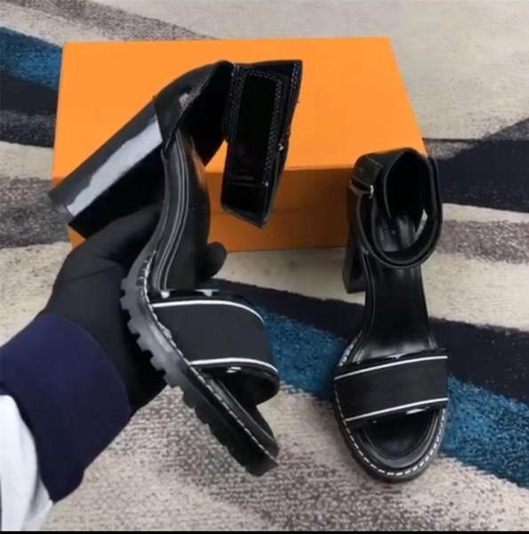 Las últimas mujeres de lujo populares de cuero genuino tobillo sandalias tacón grueso cómodo elástico Star Trail Sandalia con caja original