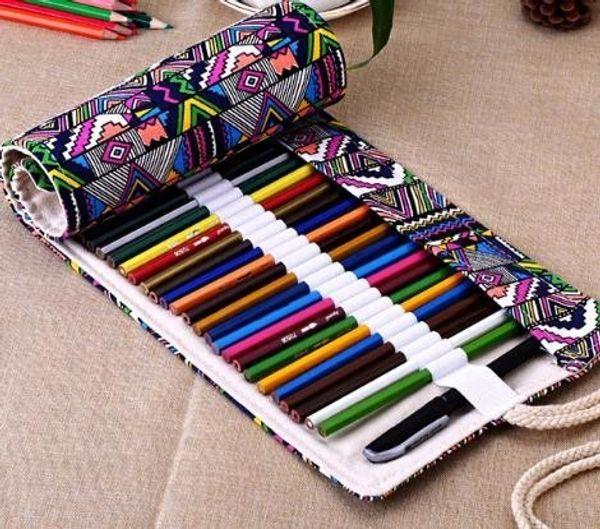 National Canvas School Pencil Case 36/48/72 Holes Roll Up Bag Portable Box School Supplies material escolar