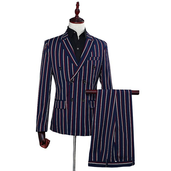 double-breasted suits Men 2019 slim fit mens blazer with pant 2 pcs Formal dress Striped Suits set Host Business Casual Outside