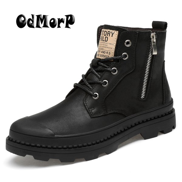 ODMORP Men Boots Genuine Leather Winter Motocycle Boots With Zip Fashion Mens Winter Shoes Men Big Size 47 Warm Fur Ankle