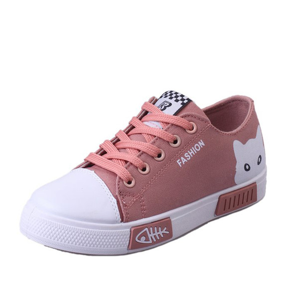New Women Flats Fashion Shoes Sneakers Cat Shoes Casual Outdoor Creepers Lace-up Leisure Canvas Flat XWD7098