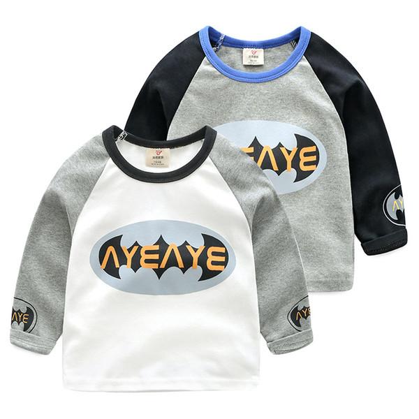 Erkek Uzun Kollu Gömlek Pamuk Karikatür Mektup Dikiş Erkek Çocuklar için Giysi Üstleri Gömlek Casual Yürüyor Bebek Giyim Tees Gömlek