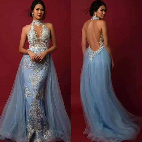 Sexy Keyhole Mermaid Evening Dresses High Neck New 2019 Pattern Lace Applique Beadas Charming Open Back Arabic Long Trumpet Prom Party Gowns