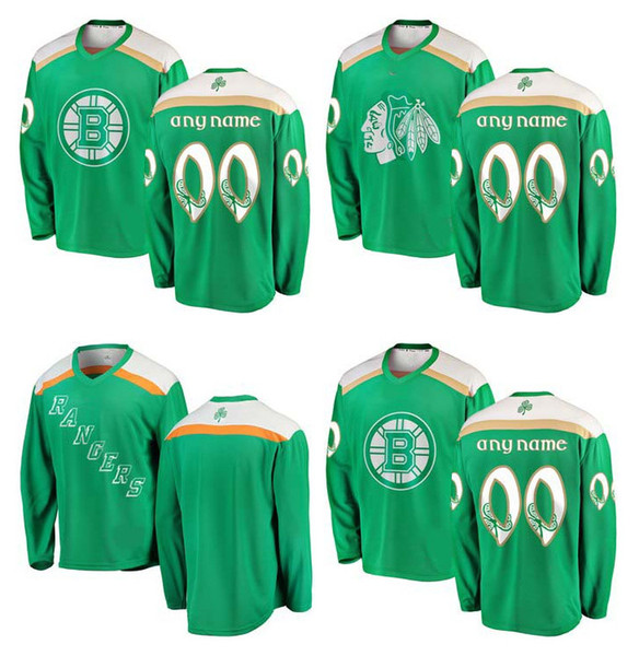 6e9ee1247 2019 Green St. Patrick s Day Custom NHL New York Rangers Jersey Boston  Bruins Chicago Blackhawks