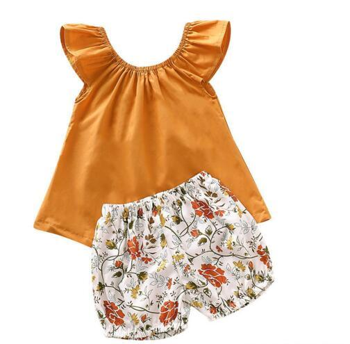 New Baby kids Clothes Two Piece Sets Sleeveless Shirt + Flower Short Girl Summer Lolita Summer Clothing Sets