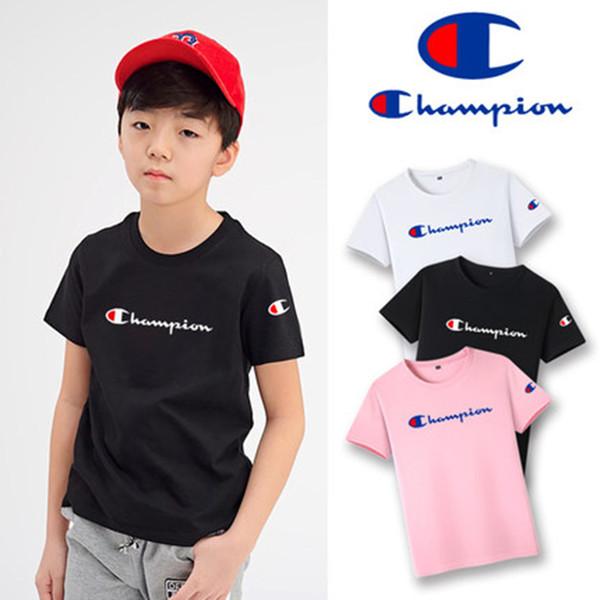 Champion boy short sleeved half sleeved cham skewers big C hipster kids popular logo ins super fire embroidered T-shirt girl