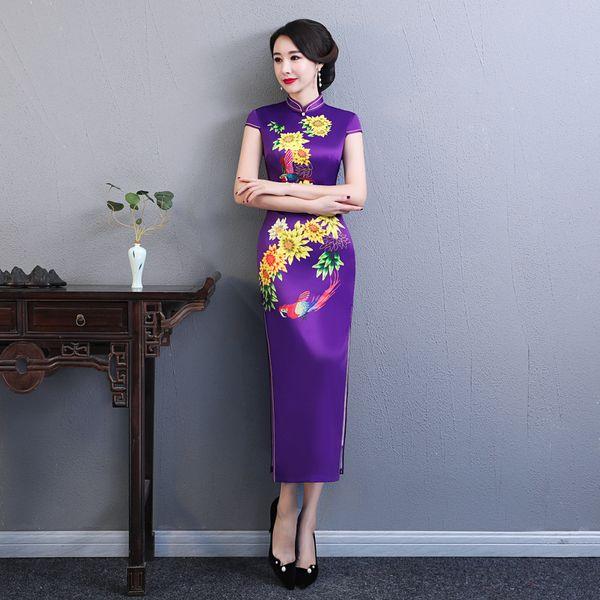 2019 New Formal Women Artificial Silk Short Print Sleeveless Stand Collar Dresses Solit Embroidery Female Dress Small Fresh