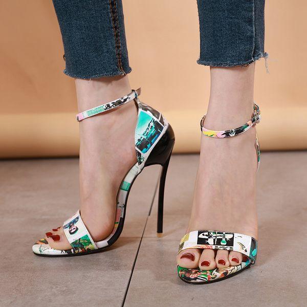 Желе обувь ремешками каблуки вечерние сандалии женская обувь летняя мода 2019 Женские сандалии открытый носок тонкий каблук большой размер YMA856