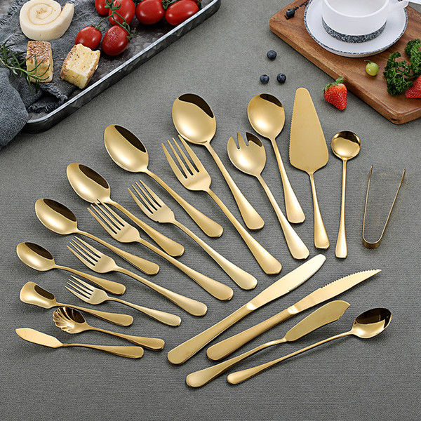 best selling Gold Color Stainless Steel Tableware Set Spoons Coffee Spoons Ice Spoon Steak Knife Fork Spoon Western Tableware Flatware