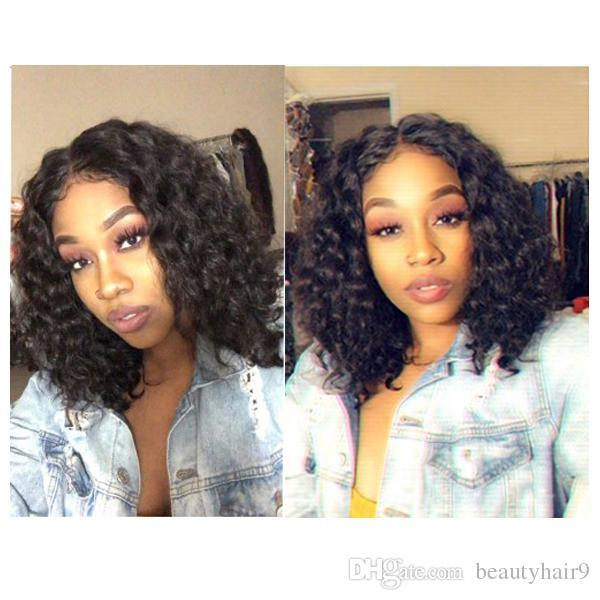 7A Brazilian Hair short bob style curly soft wig little lace front wig scalp Simulation Human Hair bob curly wig in stock