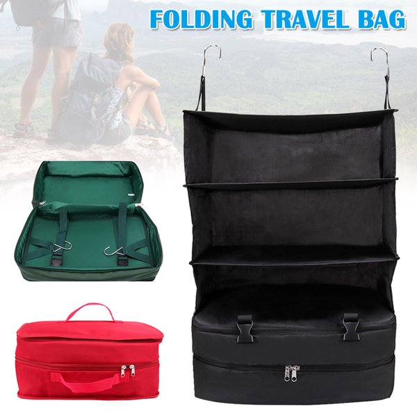 Multi-functional Folding Storage Bag 3 Layer Large Capacity Storage Bag with Hook for Travel XR-Hot