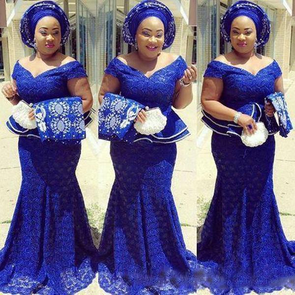 vestido de fiesta Vestidos de noche de encaje Royal Blue Vestido formal abendkleider Vestidos largos de noche nigerianos Sirena Peplum abiye