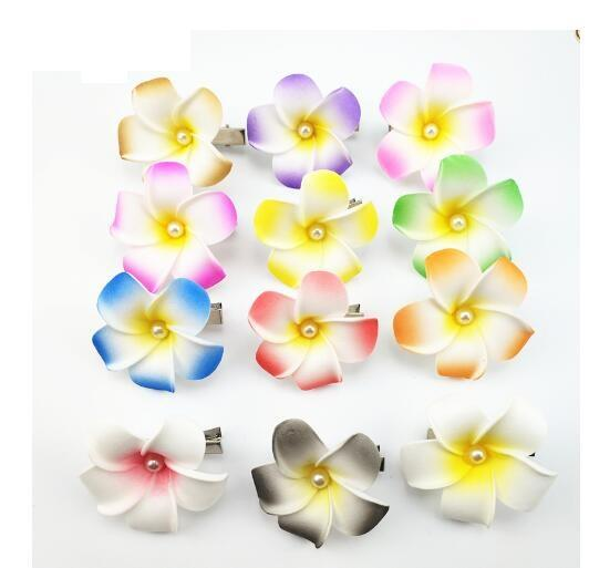sale 4cm mixed color Foam Hawaiian Plumeria flower Frangipani Flower bridal hair clip butterfly hair clips hair pin 50pcs