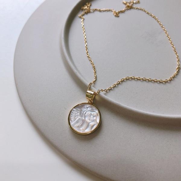 925 Sterling Silber Engel Baby Anhänger Perlmutt Abalone Muschel Halskette Schöne Schmuck Frauen Geburtstagsgeschenk Gold Halsketten