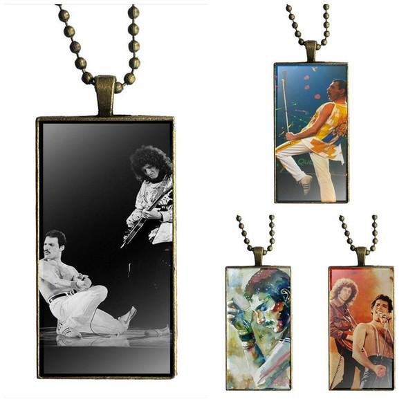 EJ Glaze Freddie Mercury Band Queen para mujer Diseño de regalo de Navidad Moda Vintage Glass Mujeres Rectángulo Collar Colgantes