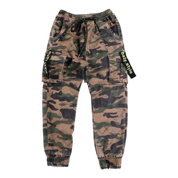 2019 Spring New Pure Boy Pure Cotton Tide Pants Children Camouflage Cargo Big Children Comfortable Wear Moisture Absorbent Soft Pants