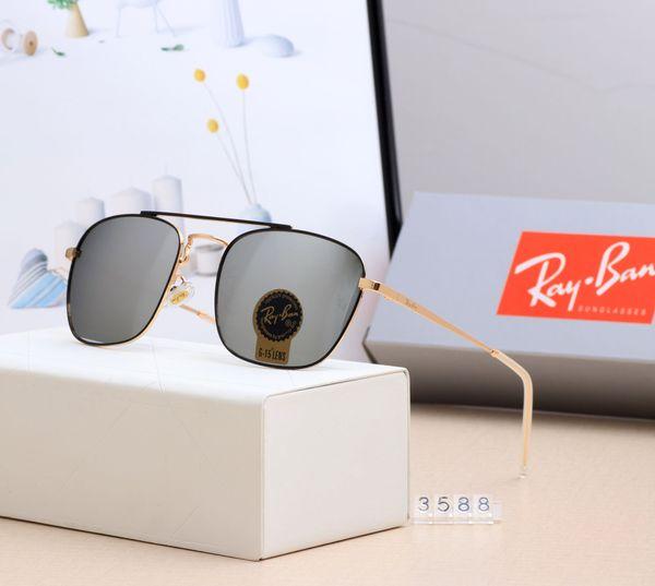 2019 Yüksek Kaliteli Ray RB3588 Bans Güneş Gözlüğü Moda 55mm Metal Çerçeve UV400 Polarize TAC Lens Güneş gözlükleri erkek Womens Güneş Gözlüğü Orijinal