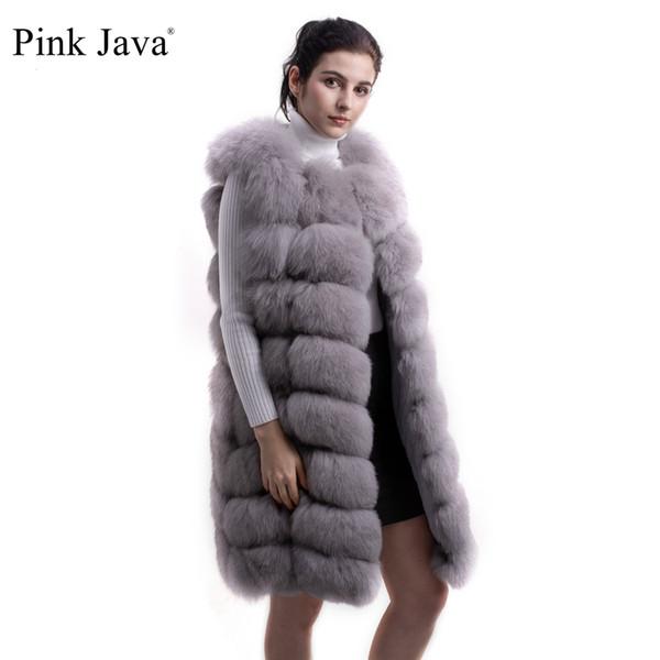 rosa java QC8032 2016 NUOVA alta qualità di lunghezza reale pelliccia di volpe gilet giacca giacca lunga 90 cm SPEDIZIONE GRATUITA