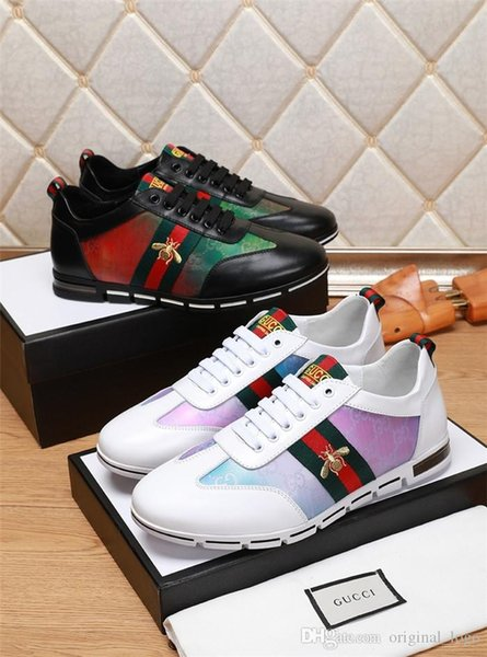 8 13 loui 13 vuitton 13 gucci 13 luxury men ca ual leather walking port trainer neaker running hoe with box 42, Black