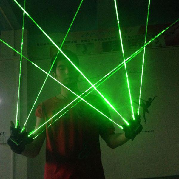 1Pcs Gants Laser Vert Danse Spectacle Scène Lumière Avec 1/2 / 3 / 4/5 pcs Lasers LED Lumière pour DJ Club / Party / Bars