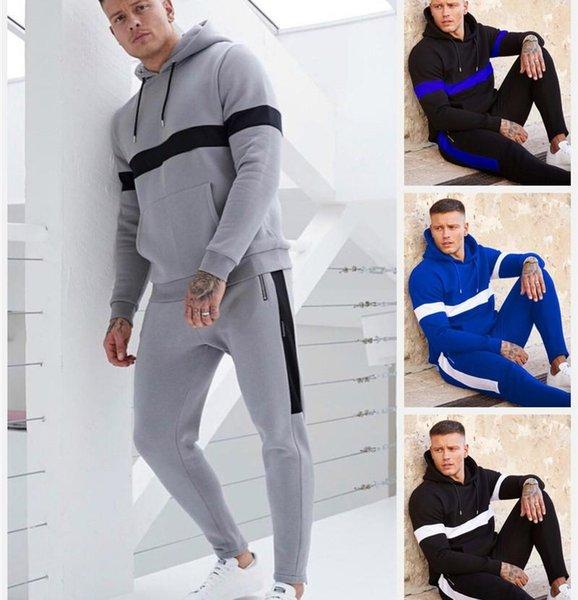Mens marca esportiva Casual Wear luxo luz calças listradas Design Hoodie duas peças terno 2.019 Designer Jogger Polo Jacket Pants Sportswear