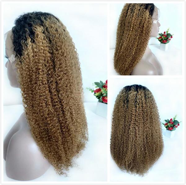 T1B / 27 Kinky Curly Perruques de Cheveux Humains Pré Cueillie Avant Blonde Brésilienne Blonde Ombre Dentelle Perruque Pour Les Femmes Noires Coloré Curly Full Lace Wig