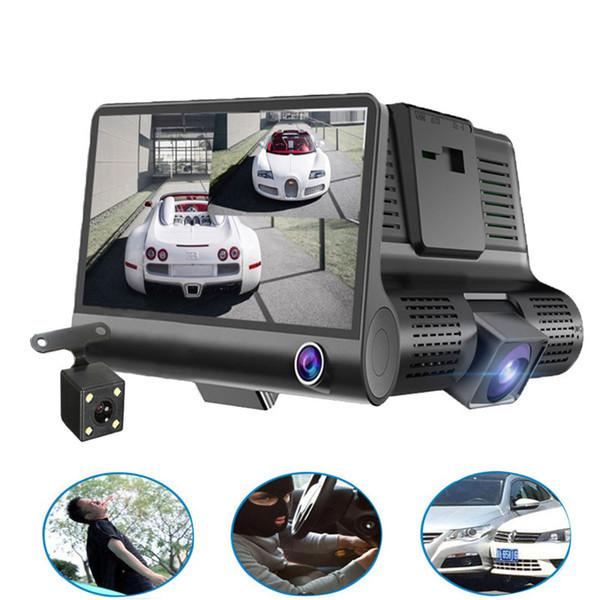 Original 4 '' Cámara DVR para coche Grabadora de video Vista posterior Registrador automático con dos cámaras Dash Cam DVRS Lente dual