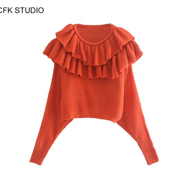 Frauen Pullover 2019 neue Art und Weise Oansatz lange Ärmel Rüschen elegant solid orange elegant lässig Spitzenpullover femme Winter gestrickt