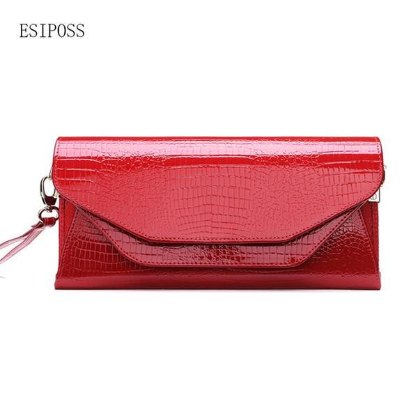 Famous Women brand bag cowhide leather crocodile pattern patent leather female handbag women clutch Messenger bag shoulder #274807