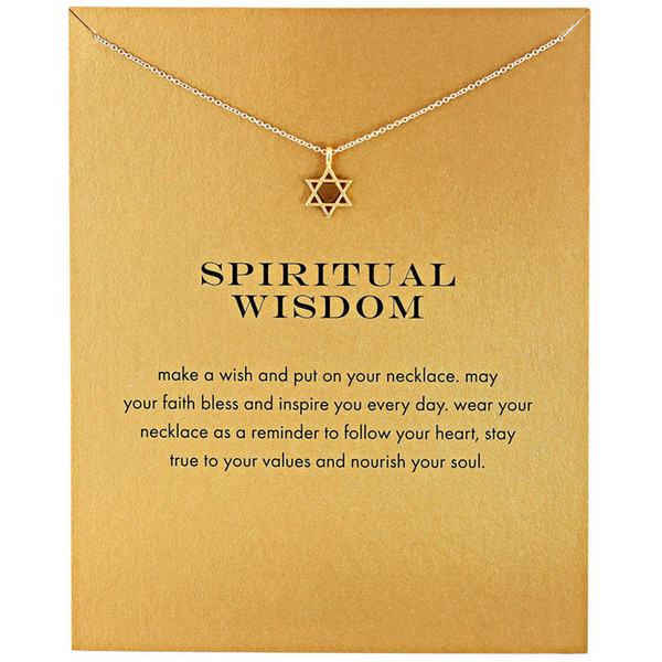 trendy star of david pendant necklace for women minimalist gold color chain choker necklaces spiritual wisdom gift card