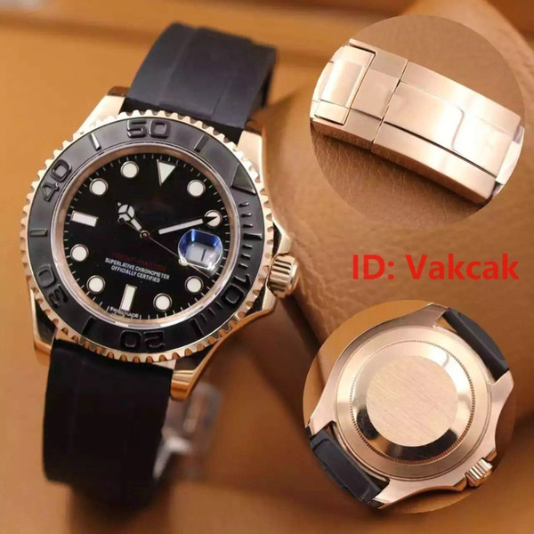 Rubber Band Rose gold Brand New Watch 40mm YACHT MASTER 2813 Automatic Movement Mechanical Mens Stainless Steel Watches Wristwatch