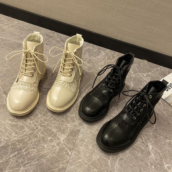 Zapatos de roca Mujer botas de plataforma plana invierno calzado botines de tacón bajo las señoras de punta redonda botines botas de las mujeres ata para arriba el lujo