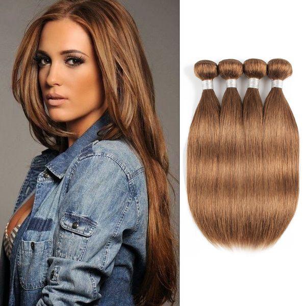 #30 Golden Brown Straight Human Hair Bundles Peruvian Malaysian Indian Virgin Hair 3 or 4 Bundles 16-24 Inch Remy Human Hair Extensions