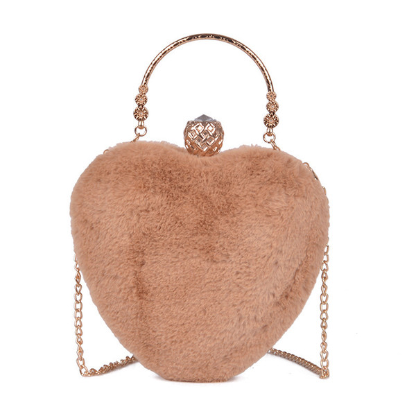 Decent2019 Fire Exceed Ins Small Bag Woman Tidal Plush Heart Shape Joker Single Shoulder Messenger Chain Package Group