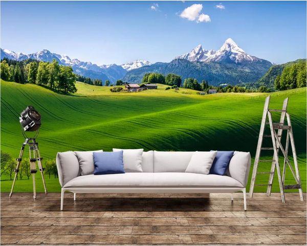 3d quarto papel de parede personalizado foto mural fresco verde cenário rural fundo decoração da parede pintura da arte da lona papel de parede para paredes 3 d
