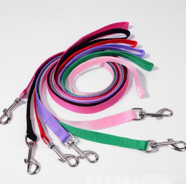 top popular 500pcs lot Width 1.5cm Long 120cm Nylon Dog Leashes Pet Puppy Training Straps Black Blue Dogs Lead Rope Belt Leash LX6556 2020